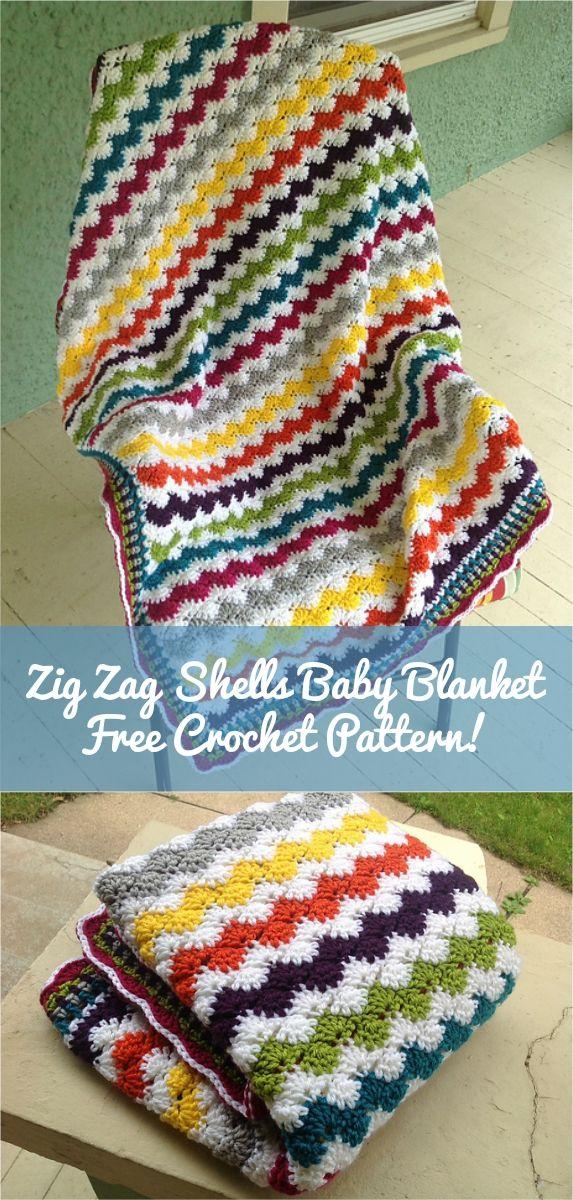 Crochet Zigzag Shells Baby Afghan | Manta, Ganchillo y Colchas tejidas