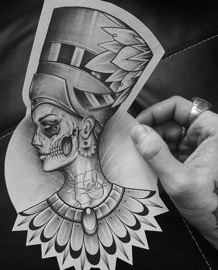 follow @badgalronnie ╰☆╮ … | Sleeve tattoos, Inspirational ... |Nefertiti Tattoo Drawing
