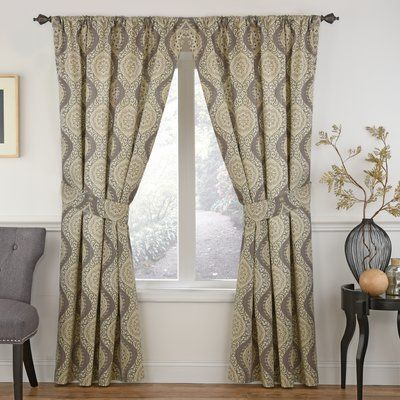 "Waverly Moonlight Medallion Single Curtain Panel Color: Mineral, Size: 52"" W x 63"" L"