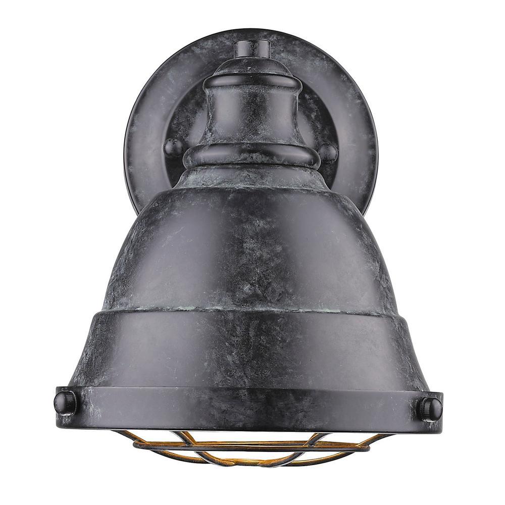 Photo of Golden Lighting Bartlett 1-Light French White Bath Light 7312-BA1 FW – The Home Depot