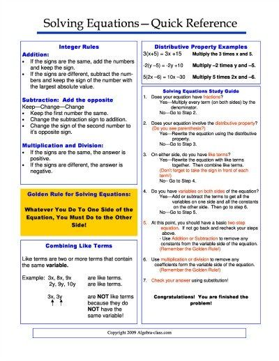 Solving Equations Cheat Sheet  Math  Algebra