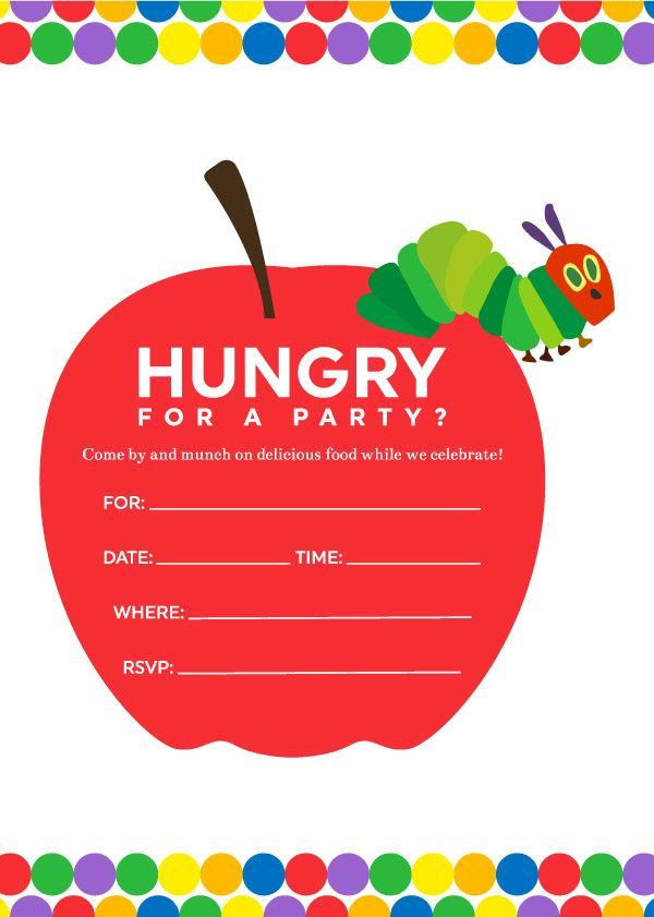 Colorful & FREE The Very Hungry Caterpillar Invitations You\'ll Love ...