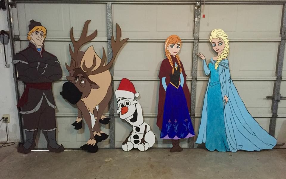 I made these in less than 2 weeks! Kristoff, Sven, Olaf, Anna and - disney christmas yard decorations