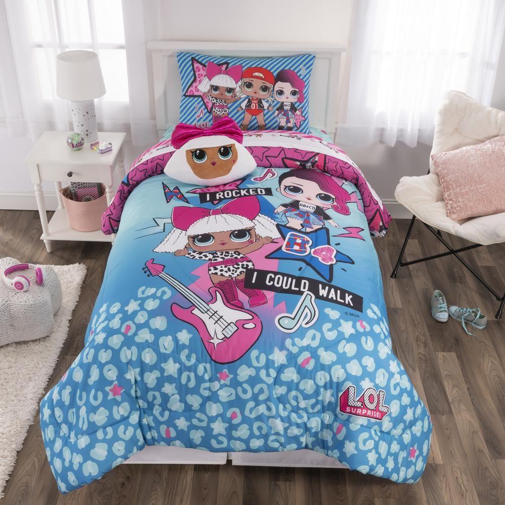 L O L Surprise Born Rockers 5 Piece Blue Twin Bed In A Bag Set