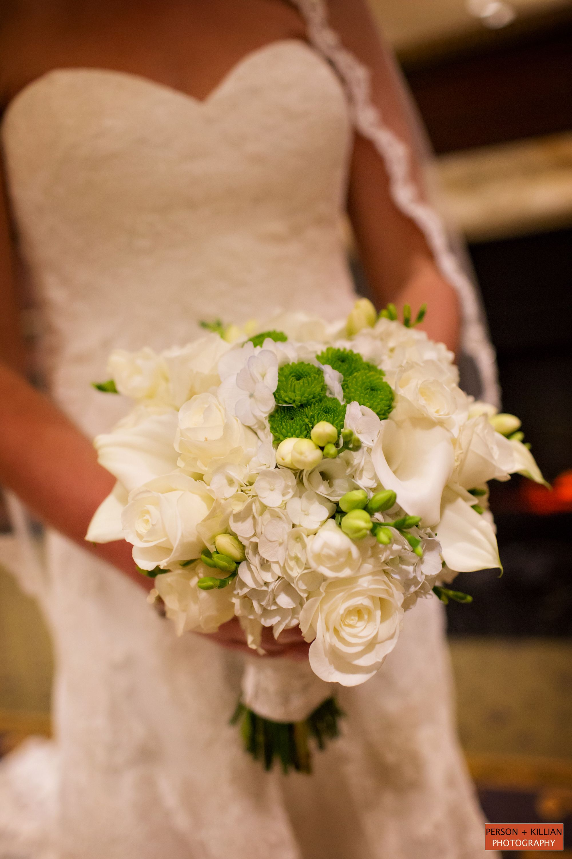 Mixed White Flowers Bridal Bouquet Lilies White Roses Large