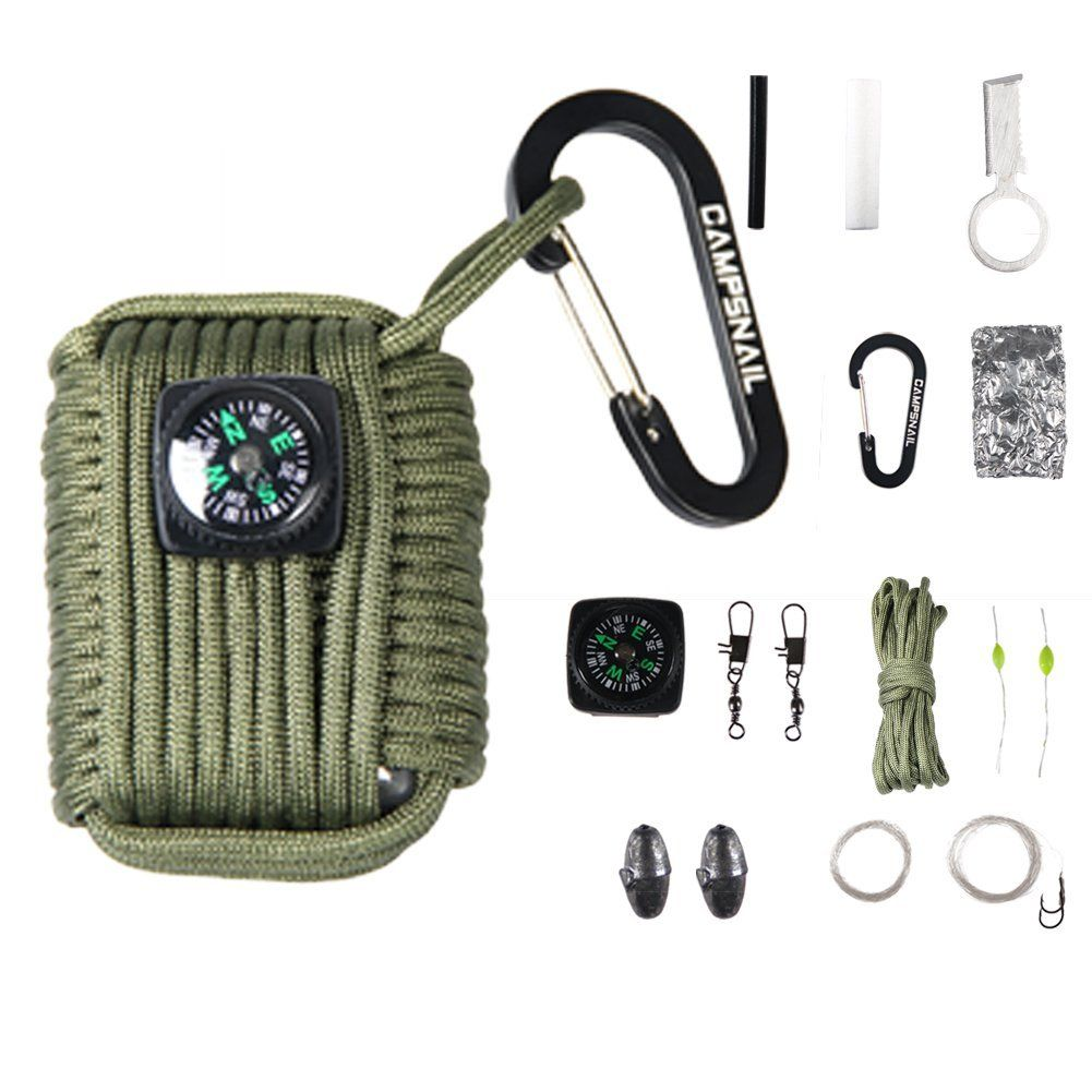 Campsnail 16 Accessories Emergency Survival Pod Kit wrapped in 550lb Survival Grenade Cord For Emergencies * This is an Amazon Affiliate link. More info could be found at the image url.