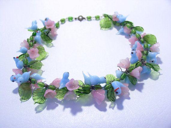 Murano Italian Art Glass Blue Birds Pink Flowers Necklace Flower Jewellery Murano Glass Jewelry Art Glass Jewelry