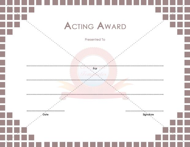 Acting award school certificate template pinterest free choose from hundreds of free printable certificate templates yadclub Images