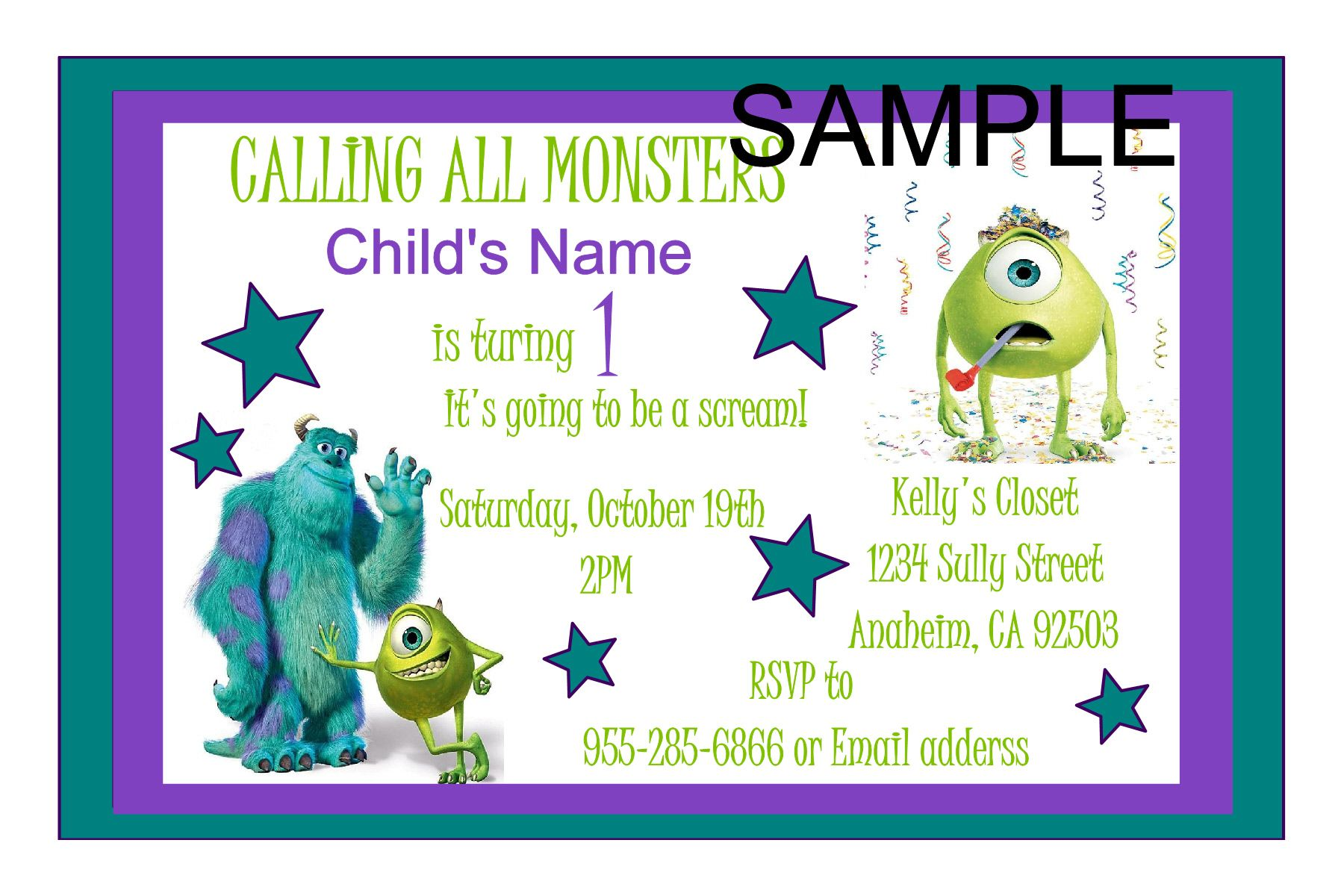 Monsters Inc. Birthday Invitation - Click to order yours today ...