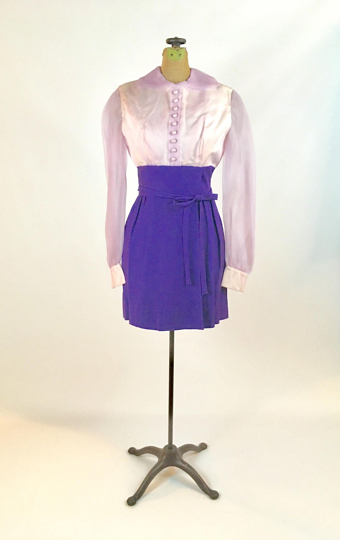 1960s Mini Dress by Lorrie Deb Vintage 1960s Mod Mini Dress Lavender ...