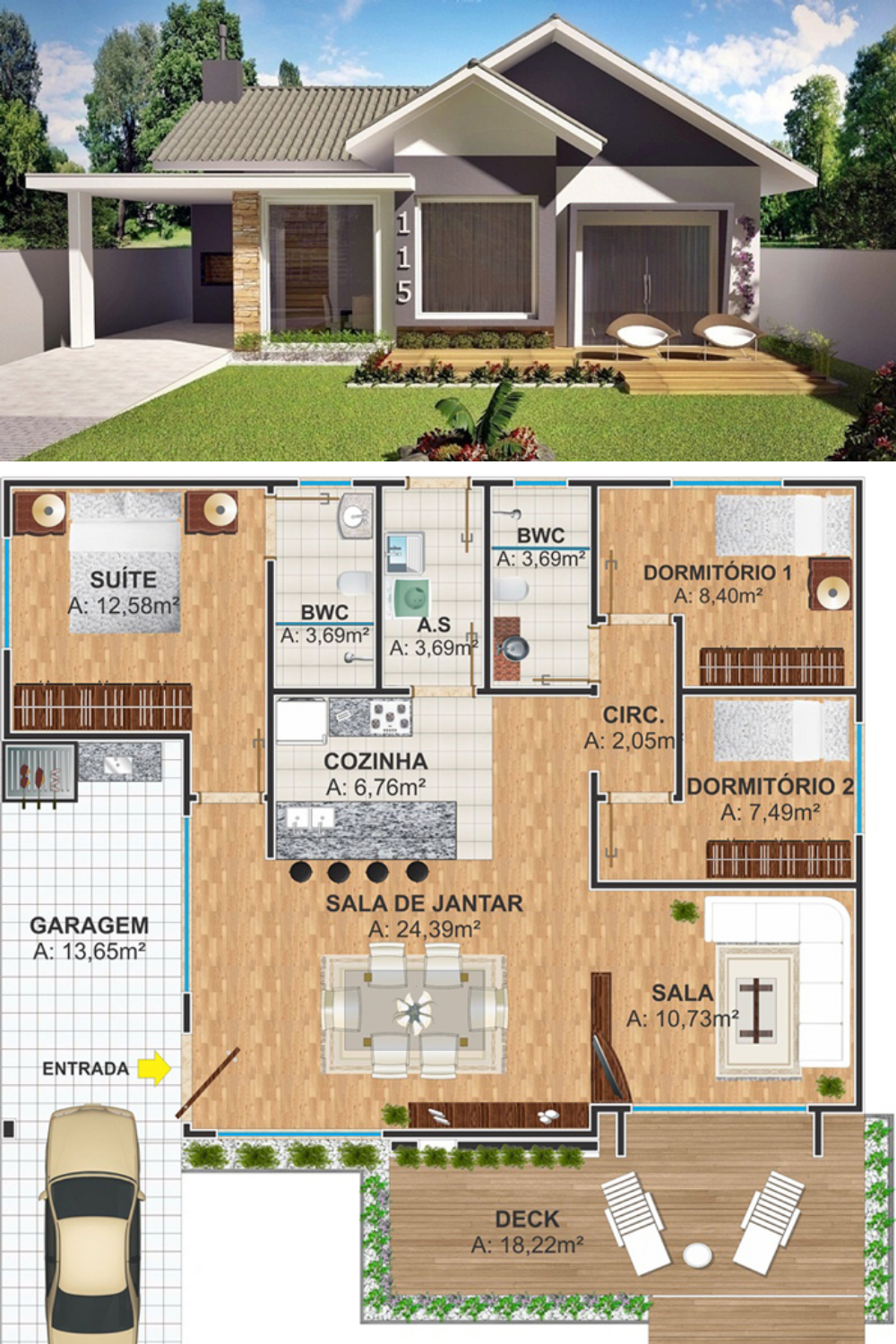 American Style 3 Bedroom House Plan House Plans House Layouts Bedroom House Plans