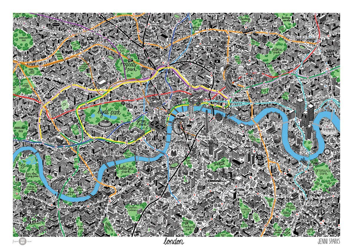 London City Map Printable.Illustrated London Map Print Poster Map How To Draw Hands