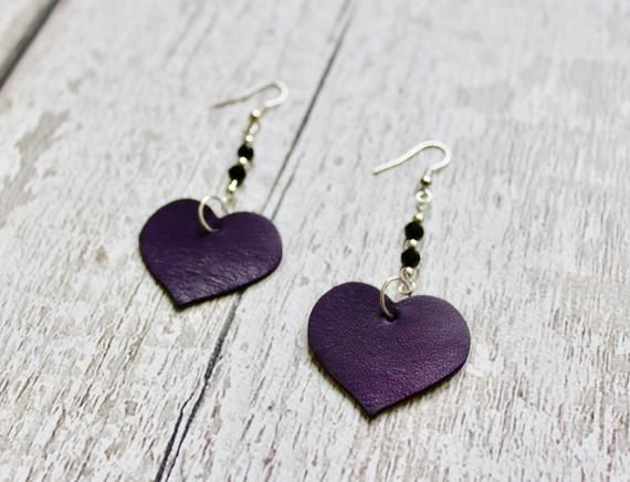 Photo of Leather Earrings. Heart Earrings. Leather Anniversary. Leather Hearts. Dangle Earring. Leather Gift For Her. Leather Jewelry. Love Gifts.