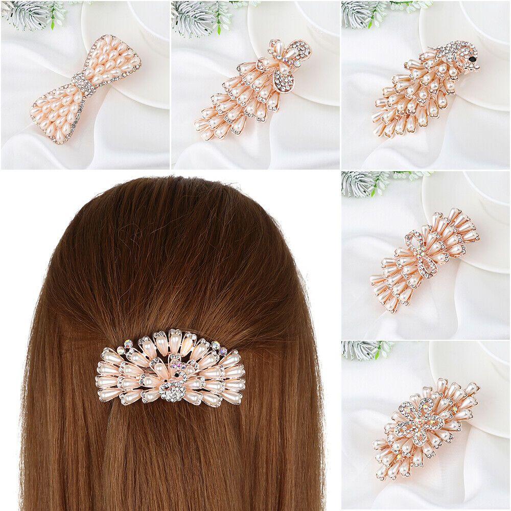Fashion Pearl Hair Clip Elegant Crystal Flower Lace Barrette Hairpin Headdress