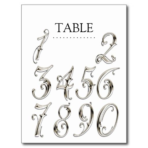 Any color table numbers fancy silver postcard fancy for Table th font color