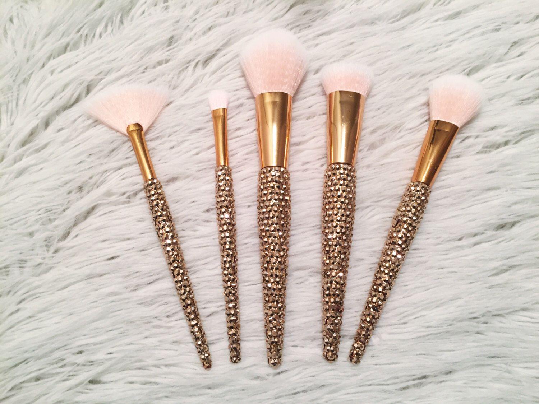 Rose Gold Rhinestone 5 Piece Bling Makeup Brush Set by
