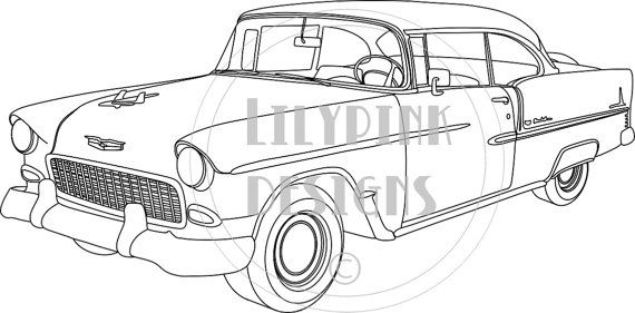 1955 chevy bel air drawing