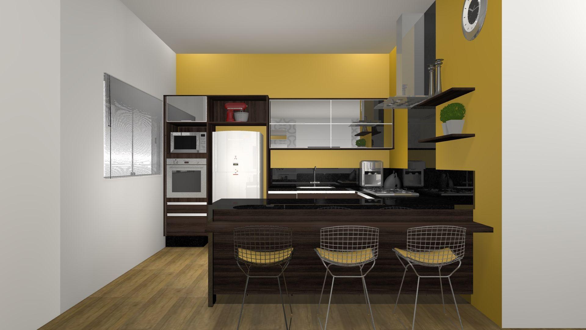 Que tal cozinha com parede amarela? Designer de Interiores Tatiane Barreto