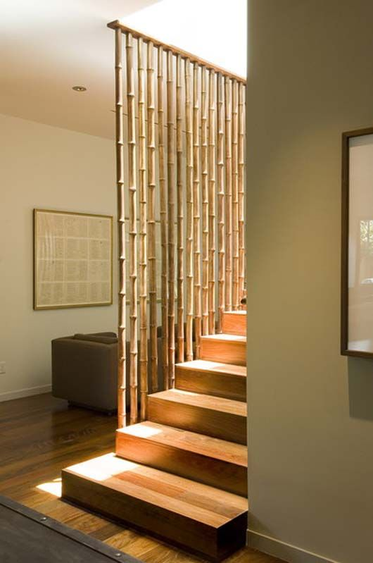 easy bamboo interior decoration. beautiful bamboo stairs  For the Home Pinterest Bamboo wall