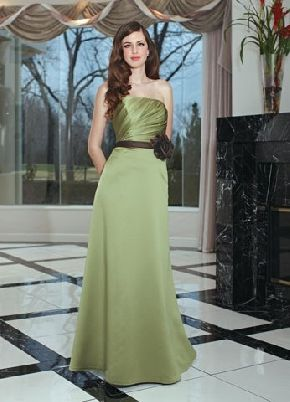 bc949fbf8b0 Strapless Sleeveless Pleated Floor Length Zipper Up Sage Satin A-line  Bridesmaid Dress With Brown Sash BD78226 Wedding Party