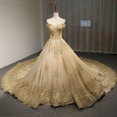 Gold Off Shoulder Embroidery Ball Gown Wedding Dress - Scarlet from Curvy Brides -   19 dress Quinceanera gold ideas