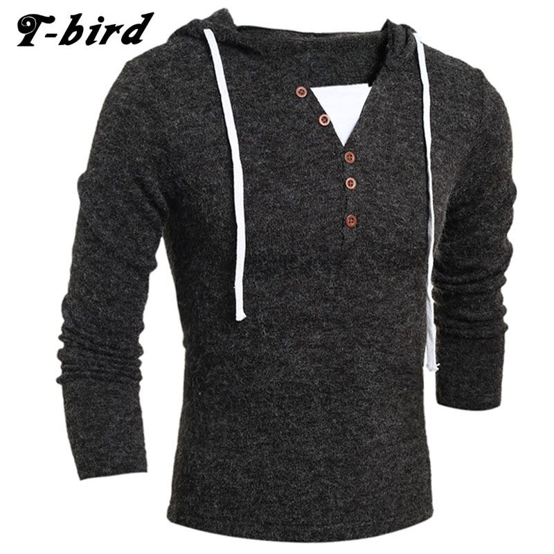 T-bird 2017 Fashion Brand Clothing Men Sweater Button Hooded V ...