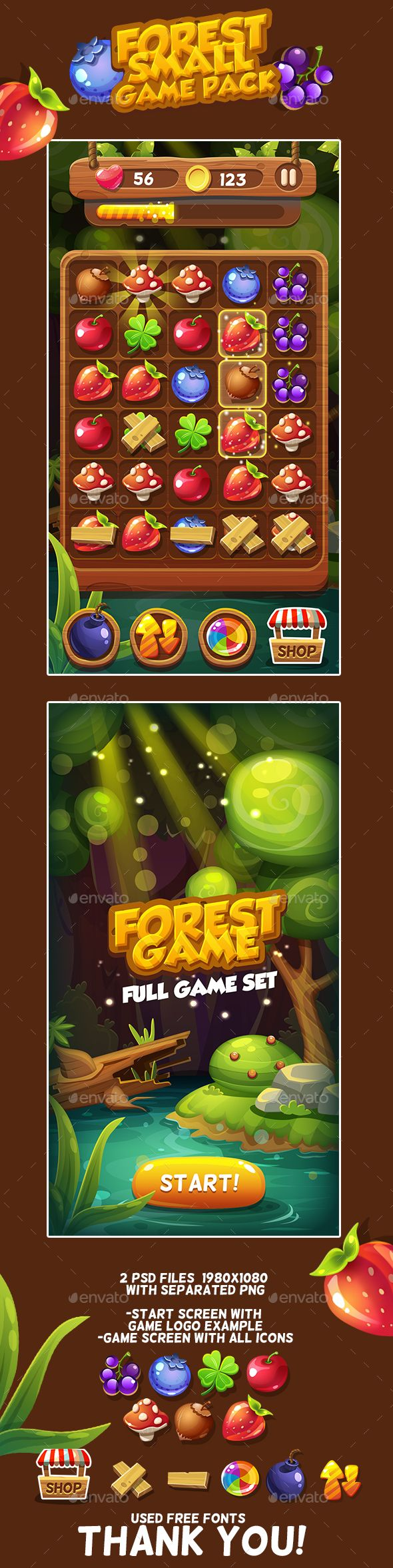 Forest Game Icons Pack — Photoshop PSD #flower #elements • Available here → https://graphicriver.net/item/forest-game-icons-pack/17974057?ref=pxcr