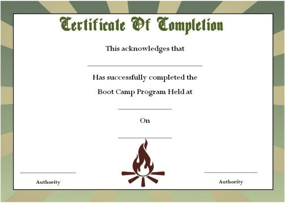 Boot Camp Certificate Of Completion  Boot Camp Certificate