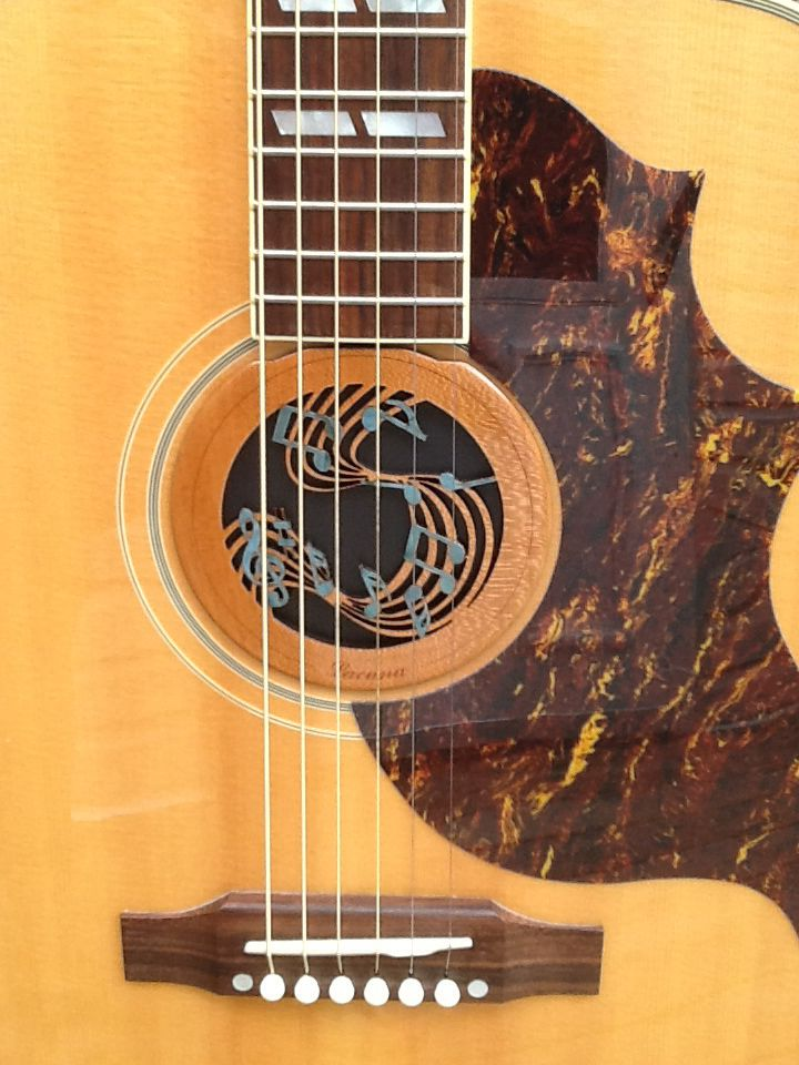 Music Notes Sound Hole Insert With Shell Inlay Www Lacuna Acousticart Com Acoustic Guitar Guitar Inlay