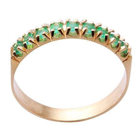 Meia Aliança Ouro Amarelo Esmeralda 27 Pontos   Anéis   Pinterest ... 91b2e42112