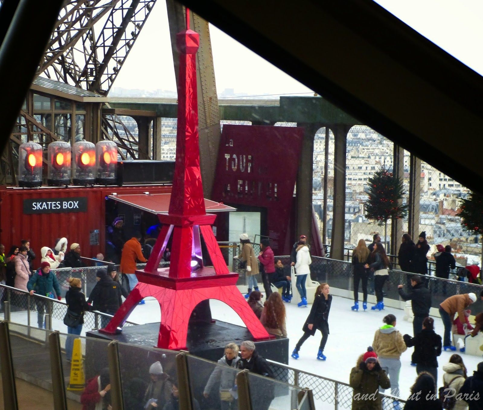 Out and About in Paris: Ice skating on the Eiffel Tower! One of the cooles...