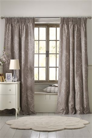Buy Grey French Damask Pencil Pleat Curtains from the Next UK online shop