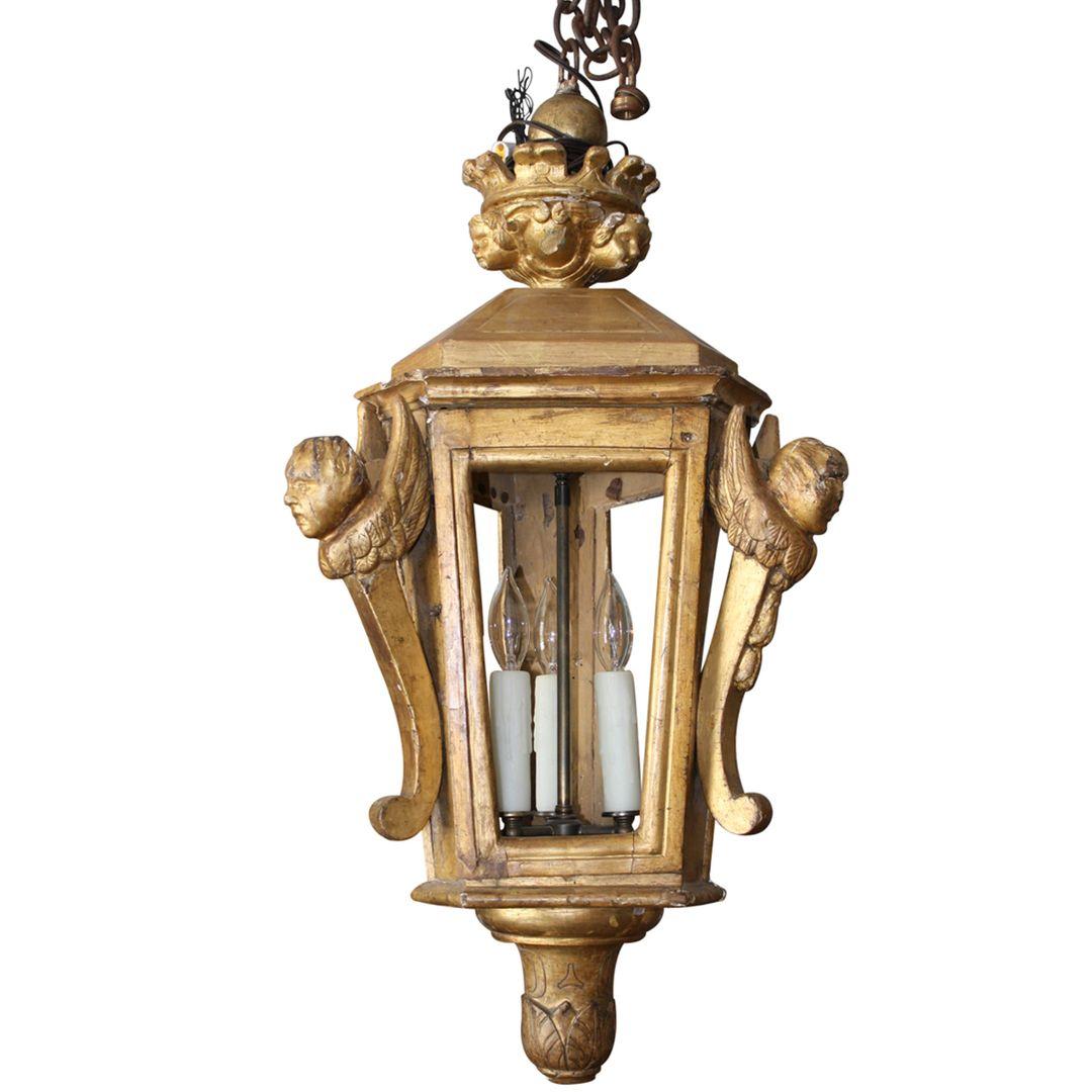 18th Century Gilded Venetian Processional Lantern Arandelas Externas Arandelas Externos