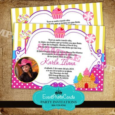 candy theme invitations for sweet 16 Theme Quinceanera