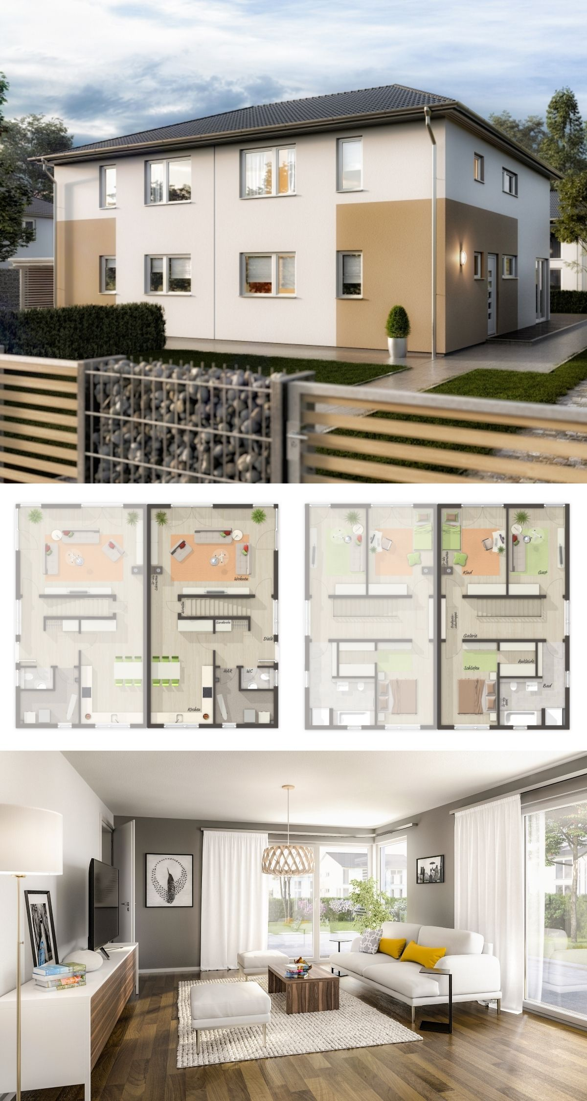Doppelhaus Architektur modern Grundriss mit Walmdach