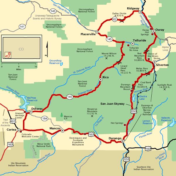 San Juan Skyway Map Americas Byways Colorado near Mesa Verde