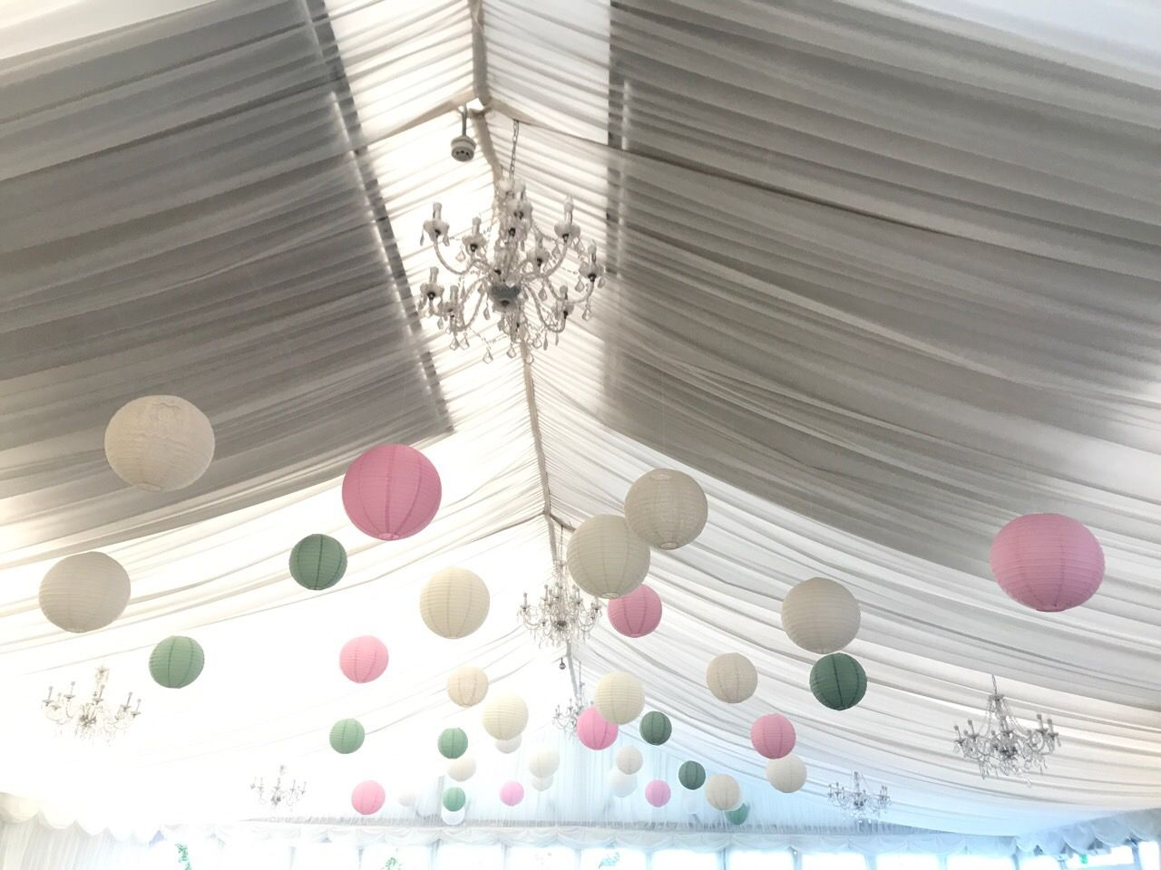 40 cream, lace, soft pink, sage green paper lanterns