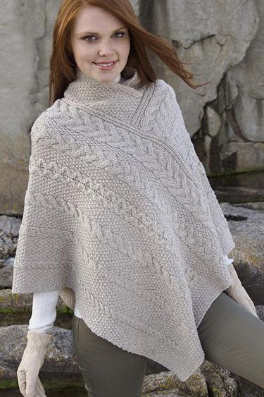 Aran Crafts Irish Aran Womens Wool Cable Knit Ladies Cape ...
