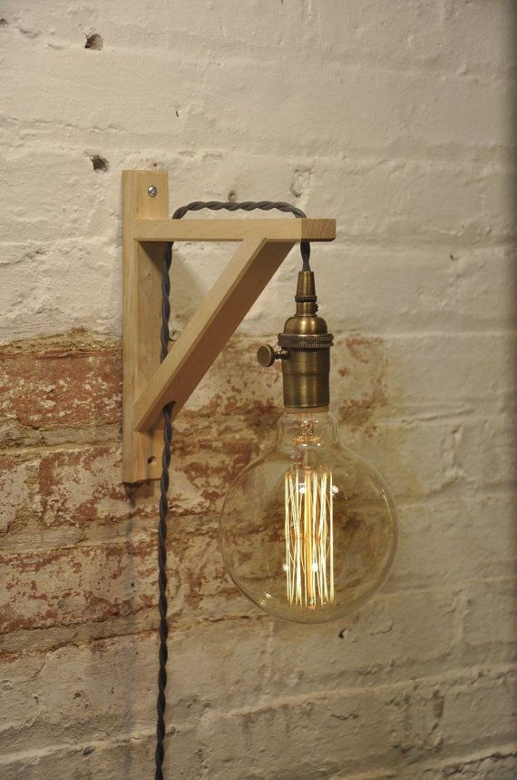 Applique Murale Cage Escalier Wall Sconce Antique Brass Birch Wood Light Lamp Industrial