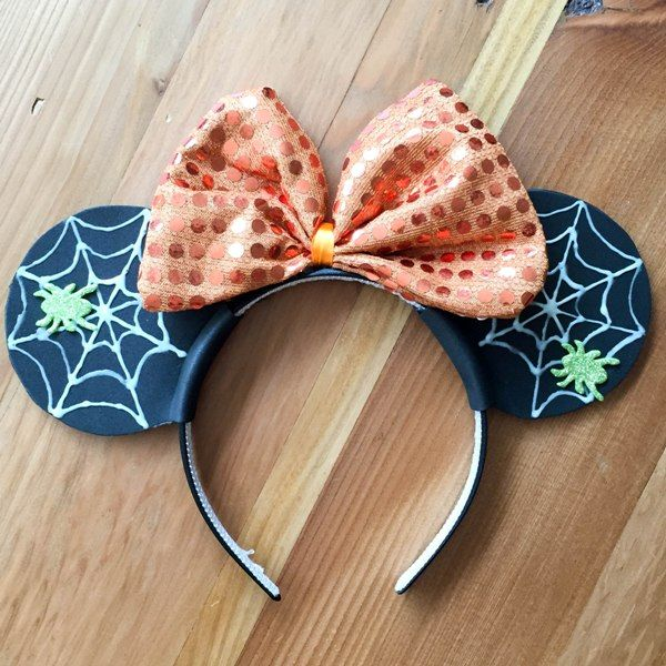 Diy spiderweb mickey or minnie ears for halloween created from headband with premade bow