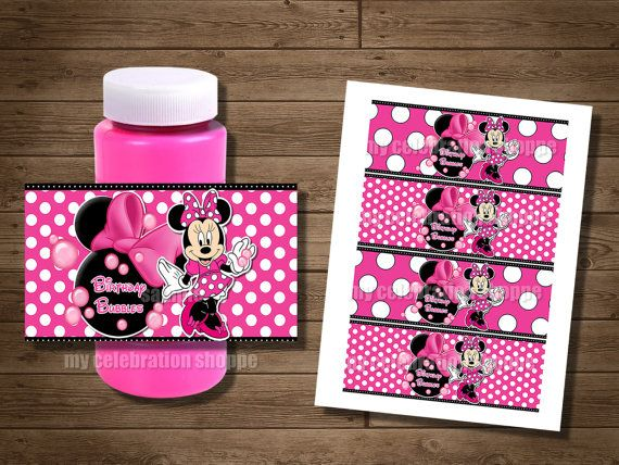INSTANT DOWNLOAD Pink Dots Minnie Mouse Bubble Wrappers - Minnie Mouse Party Favors - My Celebration Shoppe - Diy Party Printables - Decor on Etsy, $3.50