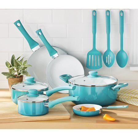 Mainstays Ceramic Nonstick 12 Piece Cookware Set Teal Ombre Walmart Com Teal Kitchen Decor Cookware Set Teal Kitchen