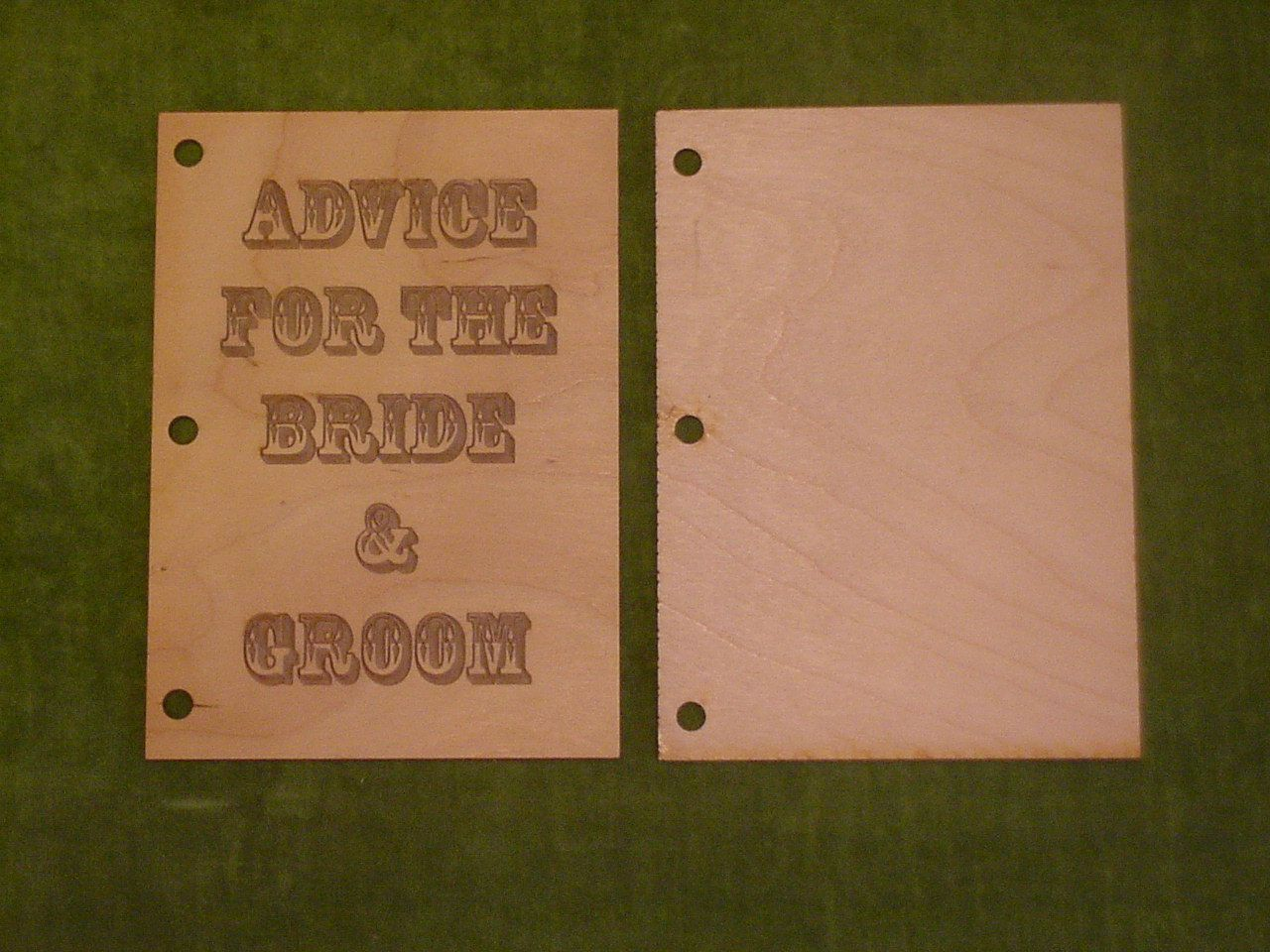 """New 7 x 5 Untreated Wood Laser Cut """"Advice For The Bride & Groom"""" Front And Back Plates"""