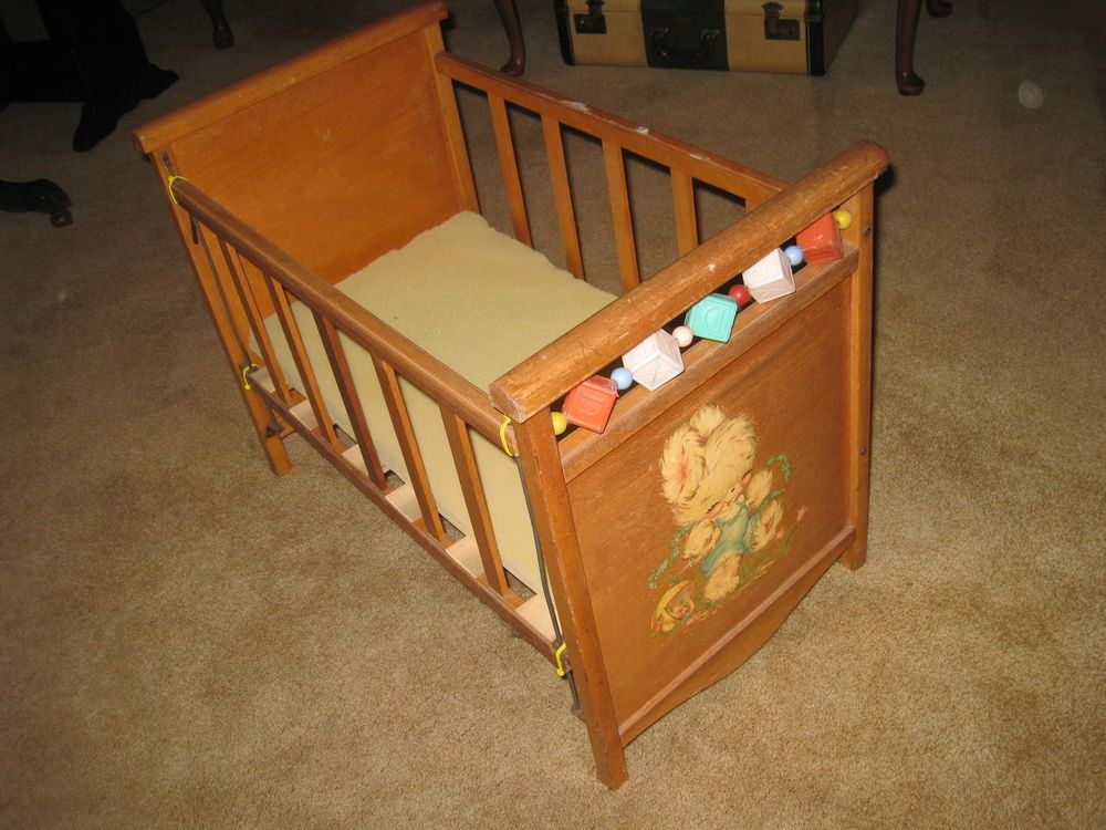 Vintage wood baby doll crib bed bunny decal plastic blocks Wooden baby doll furniture