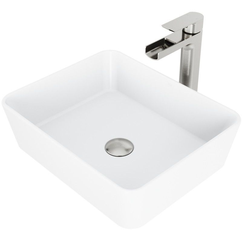 The VIGO Marigold Matte Stone Vessel Bathroom Sink gives your