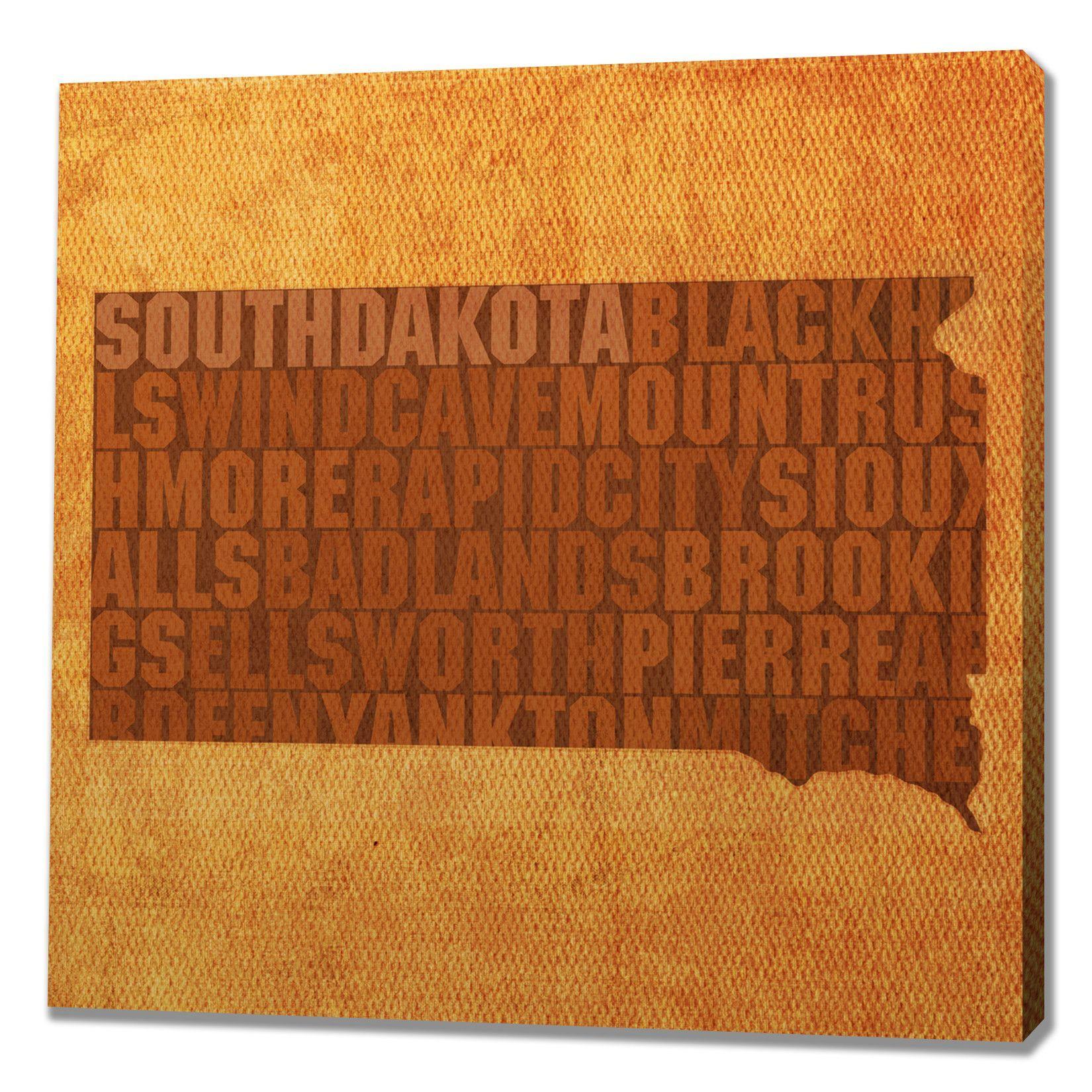 South dakota textual art on wrapped canvas diy furnituredeco