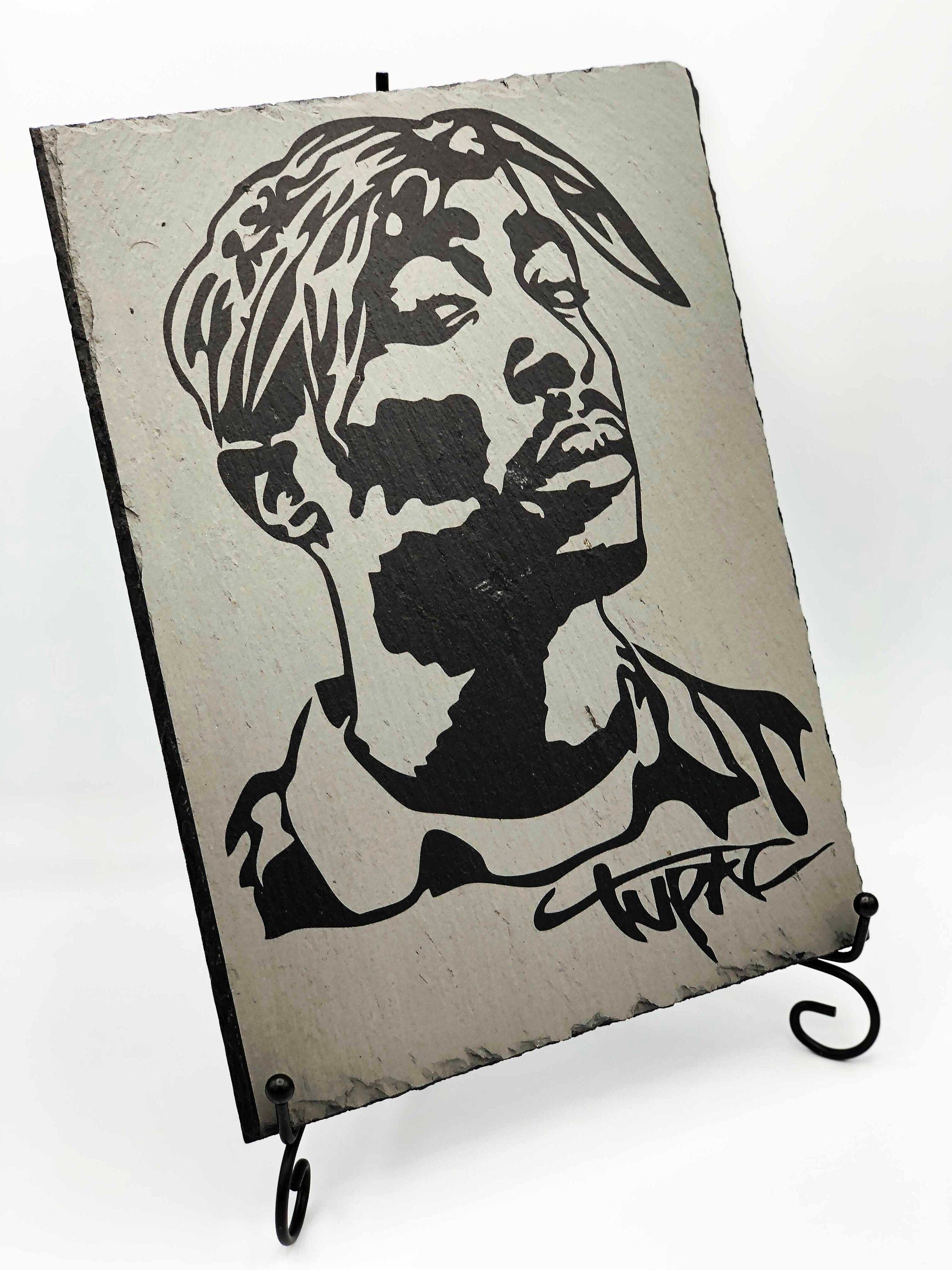 Engraved 2pac slate hiphop gift 2pac art decor music