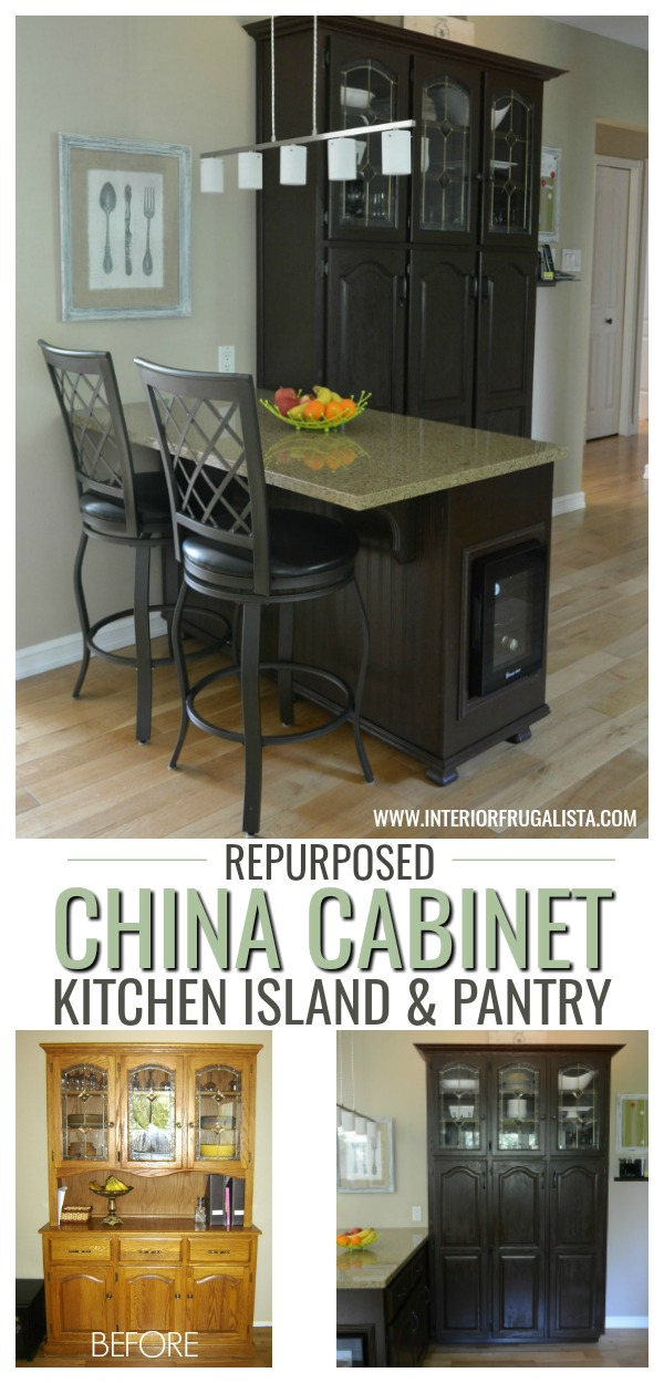 Repurposed China Cabinet Into Kitchen Island And Pantry ...