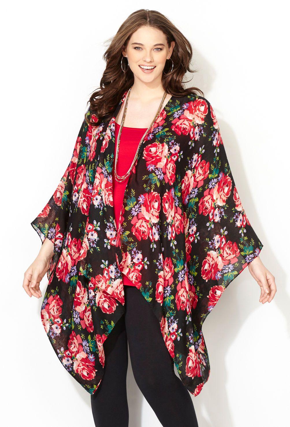 247b166e1b41a Multi Floral Lightweight Ruana-Plus Size Wrap-Avenue