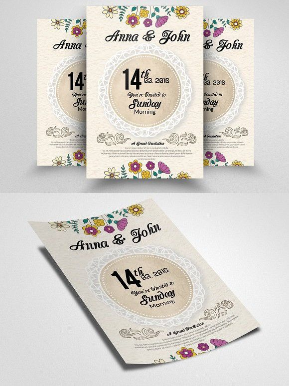 Wedding Invitation Flyer Template Flyer template, Romantic fonts - invitation flyer template